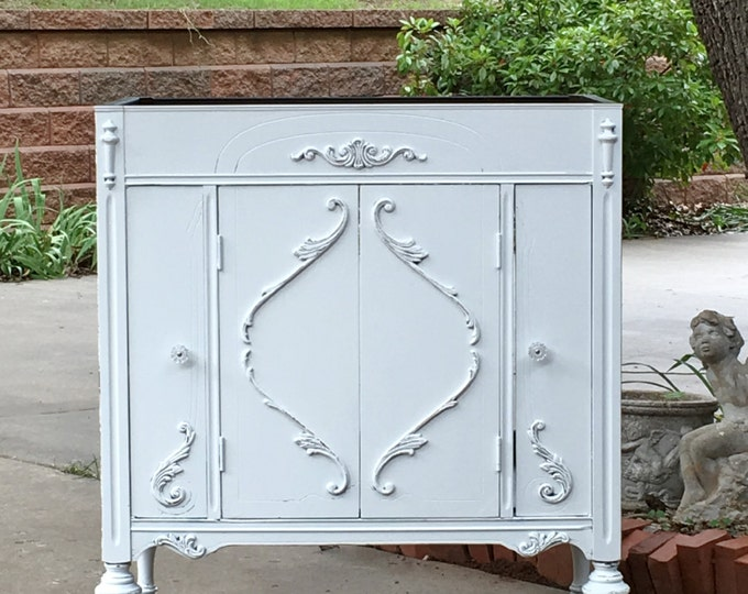 BATHROOM Vanity Shabby Chic Bathroom Vanity Cabinet Converted From Antique Furniture 100% Custom Order