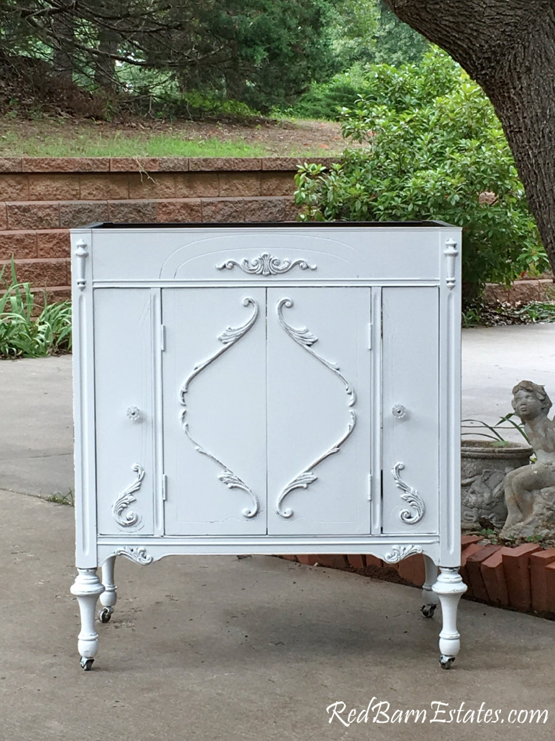bathroom vanity shabby chic bathroom vanity cabinet converted from antique furniture 100 custom order - Bathroom Cabinets Shabby Chic