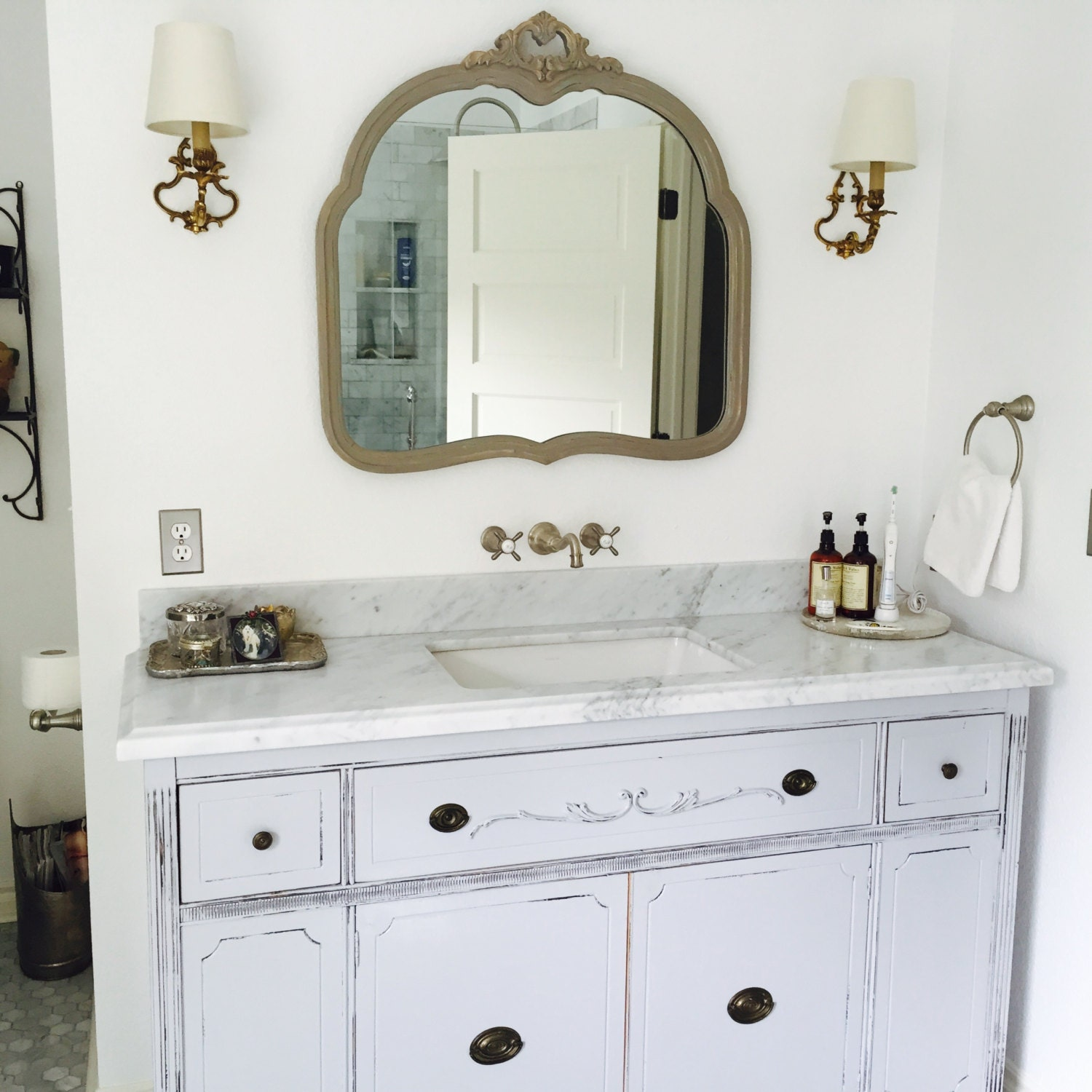 Bathroom vanity for double or single sink we custom convert from antique dresser shabby chic for Custom double sink bathroom vanity