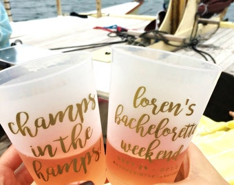 Bachelorette Cups, Party Cups, Bachelorette Party Cup, Girls Weekend Cup, Champs in the Hamps, Bachelorette Gifts, Frosted Cup, Plastic Cups