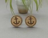 Anchor Earrings - Laser Engraved Alder Wood - Post Titanium Stud Earring - Sail Boat Nautical