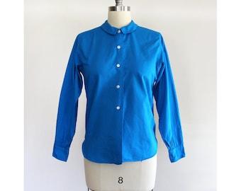 Vintage Blue Long Sleeve Blouse / 1950s 1960s Jayson Classics Button Down Top / Small Medium