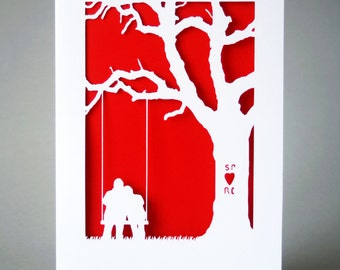 Personalised Papercut Anniversary Card *Add your initials*