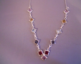 Sterling Silver Necklace Set with Princess Cut Amethyst Citrine Blue Topaz Iolite Garnet Semi Precious Stones
