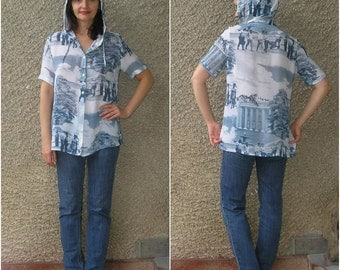 Vintage HOODED shirt with picture print, size S-M