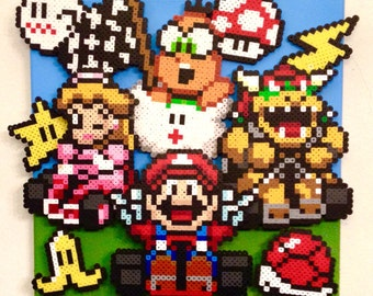 3D Mario Kart Retro Gaming Art. Handmade Pixel Art. Perler Beads on Canvas.