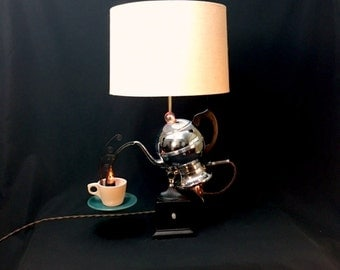 Table Lamp Upcycled Vintage Percolator Assemblage