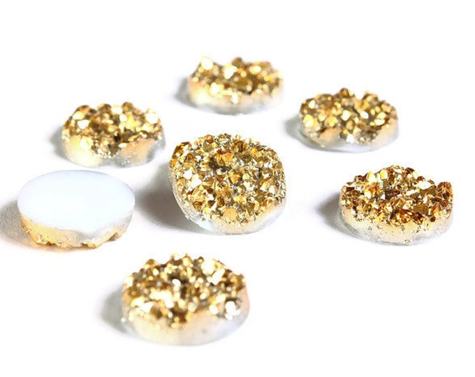 12mm Gold round resin cabochon - Faux druzy cabochon - Faux drusy cabochon - Textured cabochons (1652) - Flat rate shipping