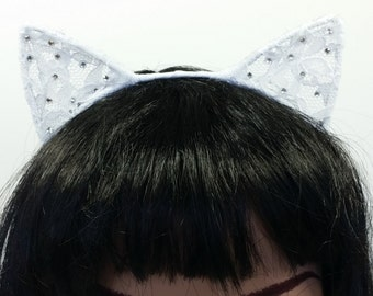Cat Headband-Ariana Cat Headband-Ariana Cat Ears-Lolita Headband- Lolita Accessories- Bridal Headband