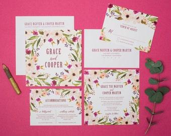 Garden Wedding Invitation Set - Bohemian Wedding Invitation - Square Invitation - Spring, Blush, Purple, Magenta, Floral, Boho - Grace