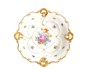 Vintage Hand Enameled German Bowl JLMENAU Graf Von Henneberg 11 inch Serving Bowl Encrusted Gold Scrolls Dresden Flowers