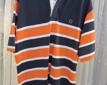 Vintage 90's cotton knit white collar navy blue and orange stripe cotton knit polo SS shirt L