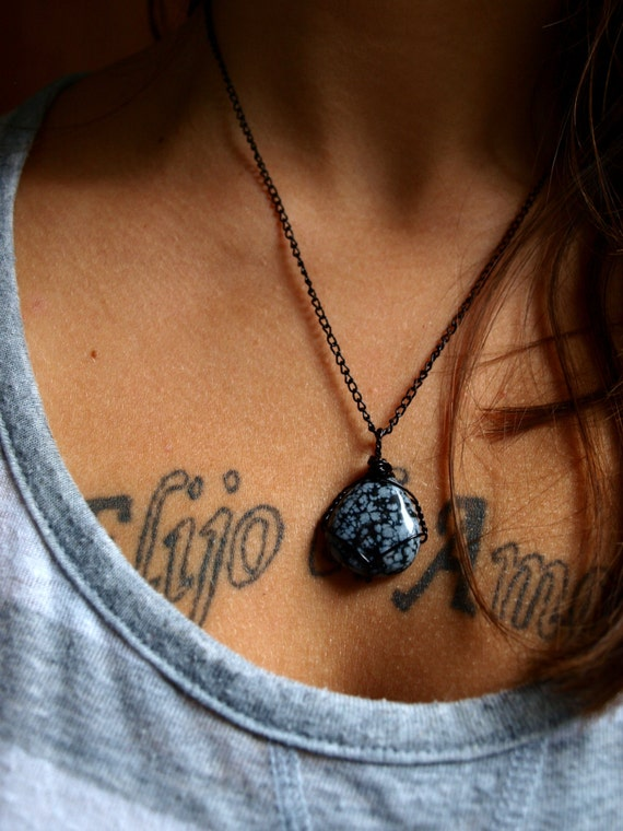 Snowflake Obsidian Teardrop Necklace - Black Copper Wirewrap and 18 Inch Cable Chain - Ecofriendly, Woman's Necklace