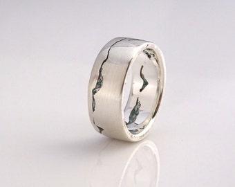 Glacier Mountain Ring, 7mm band, Gemstone Inlay, Handmade with recyled Silver, Gold, Palladium or Platinum, Ski Ring, Mountain Wedding Band
