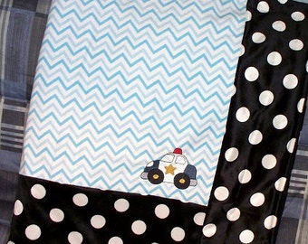Police Officer Baby Boy Blanket - Blue Chevron Black Polka Dots with a Squad Car / Personalized Ready to Ship