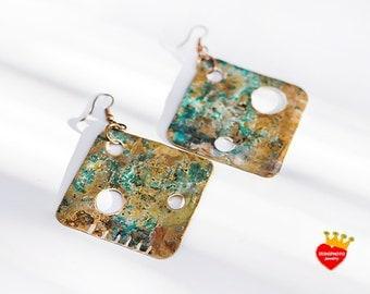 Blue - brass earrings,natural oxidized,hand cut,triangle,blue earrings,bohemian jewelry,minimal earrings,natural patina,metal earrings