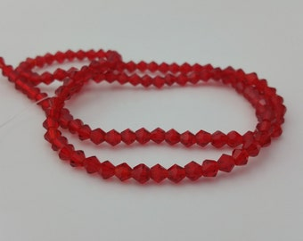 """1 18"""" Bead Strand - 4x3mm Red Bicone Glass Crystal Beads BD0152"""