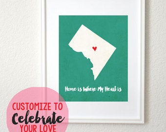 Personalized Map Print Home is Where My Heart is State or Country 8x10 Art Print