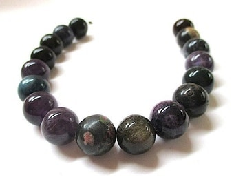 Dark Gemstones, 12mm Stone Beads, Semi Precious Gemstones. Assorted Colors: Black, Gray, Deep Purple, Forest Green. DIY Jewelry - 16 Pieces