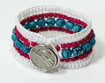 Southwest 5 Row Beaded Cuff Bracelet, Turquoise beads with Hot Pink and Fiddle Button Clasp. Select Your Size