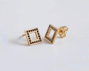 Blue Sapphire Earrings, 18k Gold Geometric Earrings, Square Earrings, Elegant Earrings, Saphire Stud Earrings, Minimal Earrings
