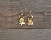 Gold Fan Earrings - Gold Fringe Earrings - Gold Spike Earrings - Gold Dangle Earrings - Gold Chandelier Earrings