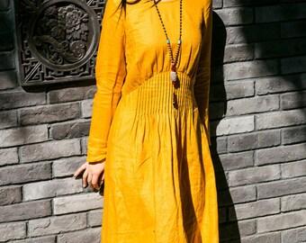evening dress in yellow with pleated empire waist, maxi linen dress, long sleeve cocktail dress, party dress, boho dress, linen winter dress
