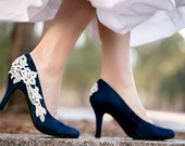Navy Blue Wedding Shoes, Bridal Shoes, Navy Heels, Low Wedding Heels, Blue Pumps, Bridal Heels, Navy Blue Heels with Ivory Lace. US Size 7