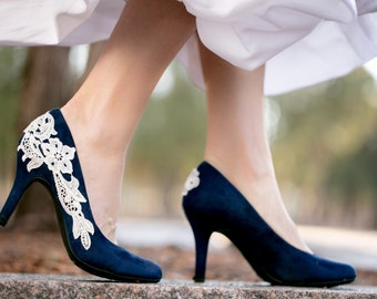 Navy blue heels etsy navy blue wedding shoes bridal shoes low wedding heels blue pumps low junglespirit Choice Image