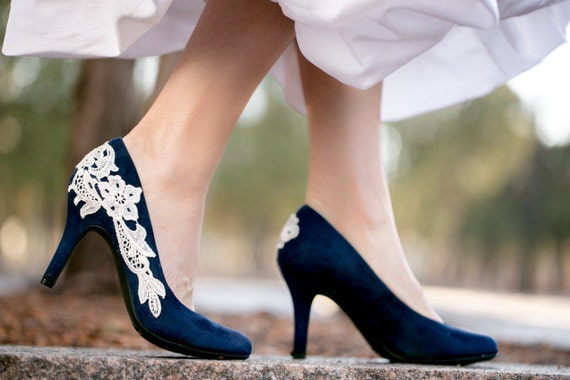 Navy Blue Heels with Ivory Lace
