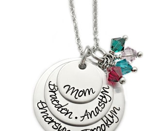 Personalized Name Birthdate Necklace - Engraved Jewelry - Mommy Necklace - Mother Jewelry - Layered Birthstone Jewelry - Custom Text