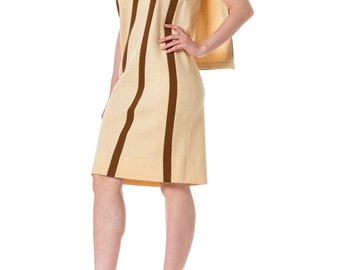 1960s MOD Beige Sleeveless Wool Dress with Brown Stripes