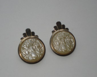Vintage Gold Tone Pearly Earrings - Clip on  Costume Jewelry - 1970s