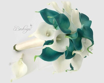 CHOOSE RIBBON COLOR - Teal and White Ivory Calla Lily Bouquet and Boutonniere, Real Touch Calla Lily Bouquet and Boutonniere, Bridal Bouquet