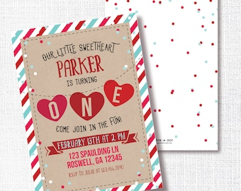 Valentine Birthday Invitation, Printable, Little Sweetheart Invite, 1st Birthday, First,  Heartbreaker, Boy and Girl, Red and Aqua