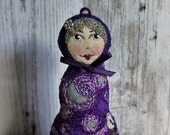 Matryoshka - Babushka Felt Art Doll, inspired by Van Gogh Starry Night. Hand embroidered with birds