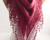 Maroon Burgundy Cotton Scarf Shawl Scarf  Lace Scarf  Summer Spring Scarf  Fashion Women Accessories  Gift For Her for Mom DIDUCI