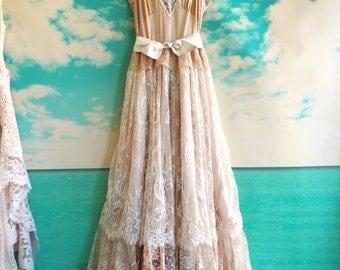 blush antique mauve & cream eyelash lace tiered boho bridesmaid dress by mermaid miss Kristin
