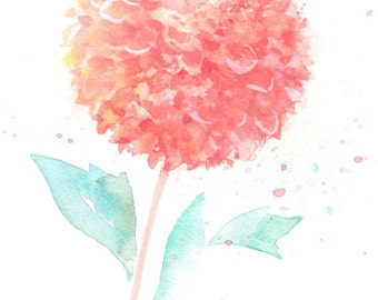 Fine art watercolor painting, flower art, pink DAHLIA WATERCOLOR PRINT, giclee print, flower interest