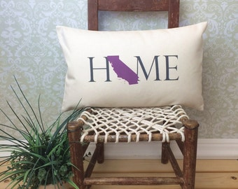 California Pillow, Long Pillow, Home Pillow, State Pillow, Home Decor, House Warming Gift, House Warming Pillow, Custom Pillow, Lumbar