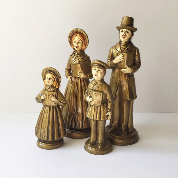 Singing Carolers Candleholders Figurines Vintage By: Set Of Four Vintage Christmas Carolers Victorian Carolers