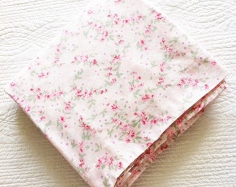Vintage Cottage Home Pink Blush, Celadon Green, and Pomegranate Red Bed Sheet with Petite Floral Detailing, Olives and Doves