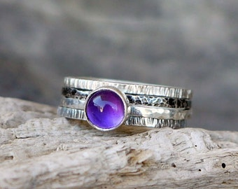 Stacking rings with amethyst set of 4 - Purple silver ring bezel - February Birthstone, Mothers Ring, Birthstone Jewelry - Custom made ring