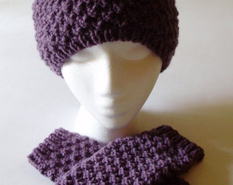 Ready 2 Ship* Harry Potter Hermoine Godric's Hallow Inspired Knit Hat & Fingerless Gloves Beanie In Dusty Purple from Ashlee's Knits Cosplay