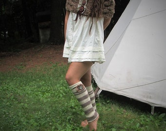 DaintyPirate! Upcycled Legwarmers~wool stripes w/ crocheted Flowers and MotherofPearl Buttons