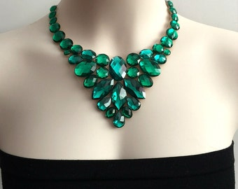 bib emerald and erinite green necklace - 2 tone green rhinestone bib necklace