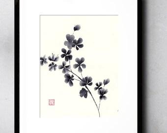 Plum Blossom Original Black and White Watercolor Painting Chinese Brush Artwork