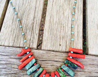Coral necklace, Boho fashion, Turquoise necklace, Turquoise and Coral, Southwestern necklace, red and turquoise necklace, Free shipping