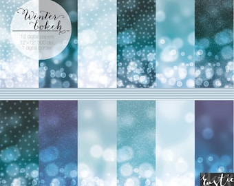 WINTER Night BOKEH digital paper with stars, snow and flourishes. Digital paper with bokeh in blue, navy and lilac.