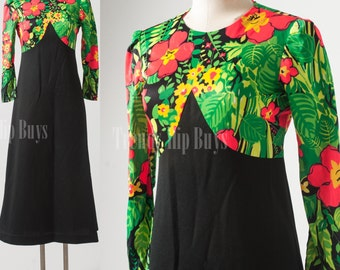 60s Dress, Maxi Dress, Vintage Green Dress, Black Dress, Floral Dress, Mad Men Dress - S/M